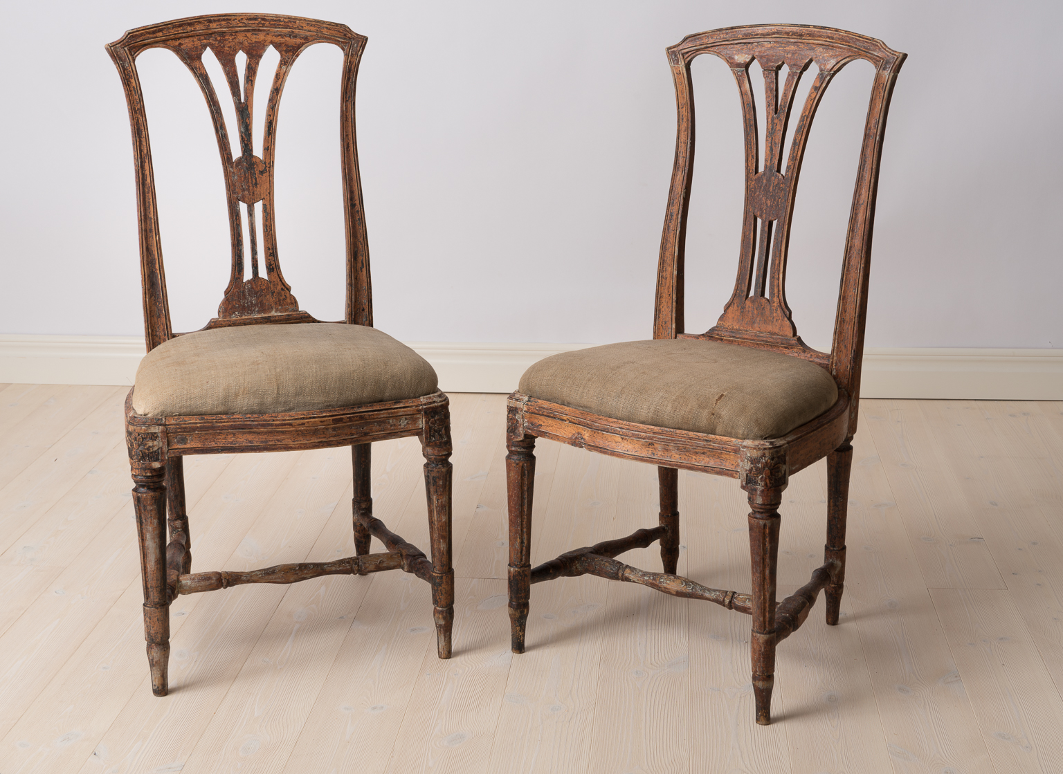 A pair of Swedish Period Gustavian Chairs Made in Stockholm Circa 1775