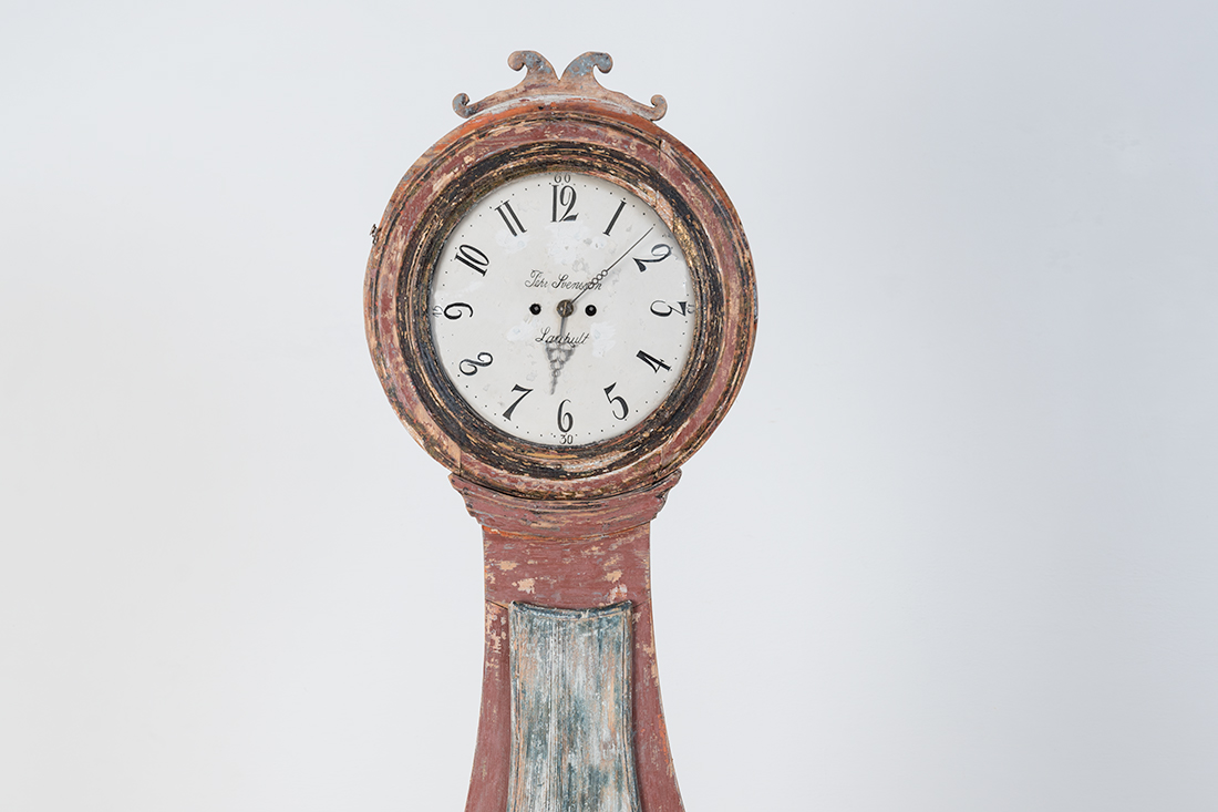 Late 18th Century Norwegian Rococo Long Case Clock With Curved Shapes