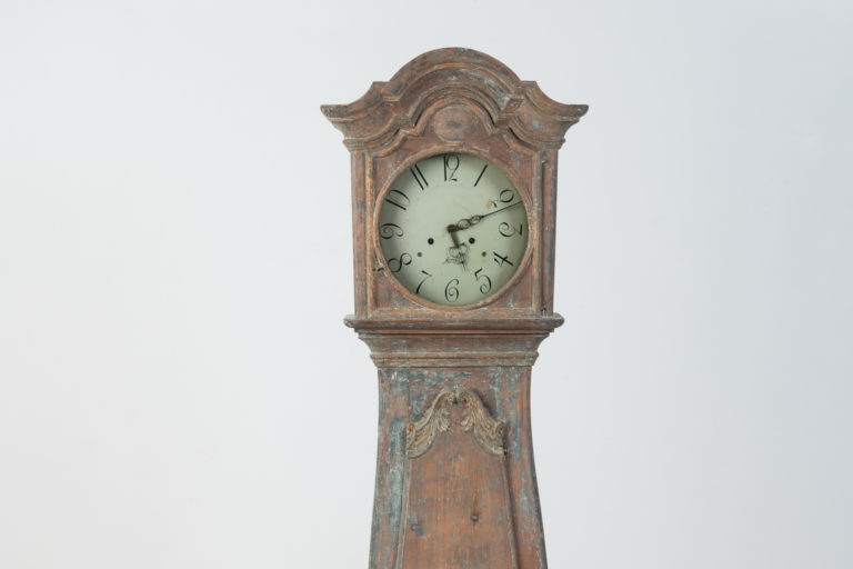 Early Rococo Mora Clock with Blue Original Paint