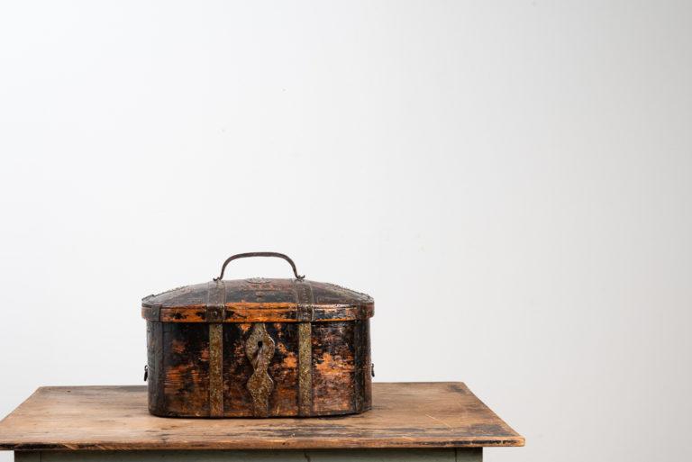 Swedish travel box with wrought iron