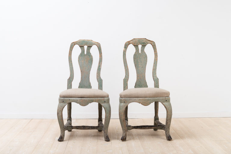 Late Baroque Pair of Chairs with Original Paint