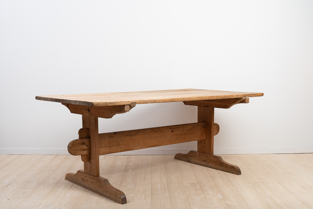 Swedish Pine Folk Art Dinner Table with Untouched Patina