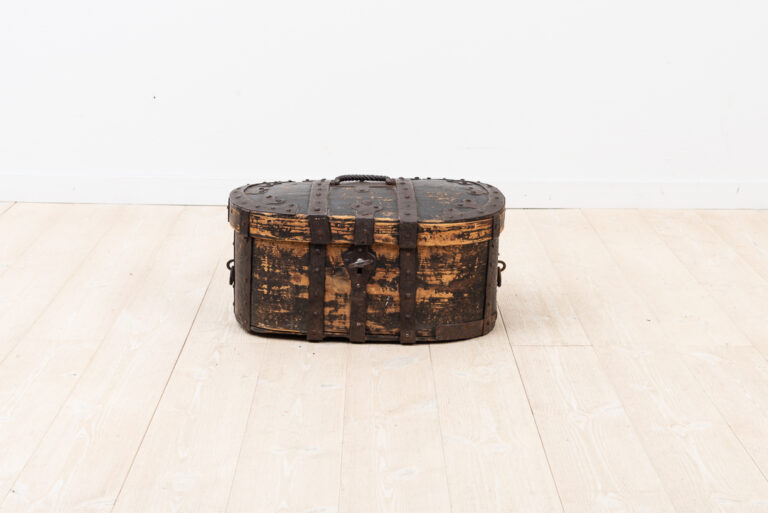 Pine Travel Box with Enforcements in Hand Wrought Iron