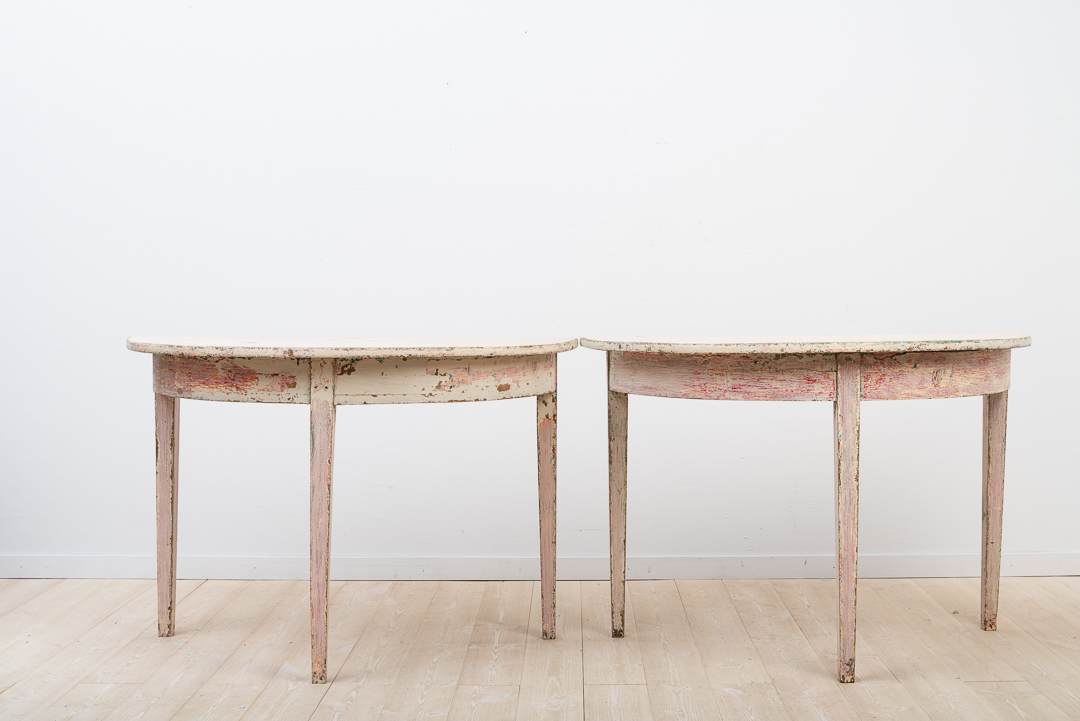 Gustavian Demi Lune Table in Two Parts with Historic Paint