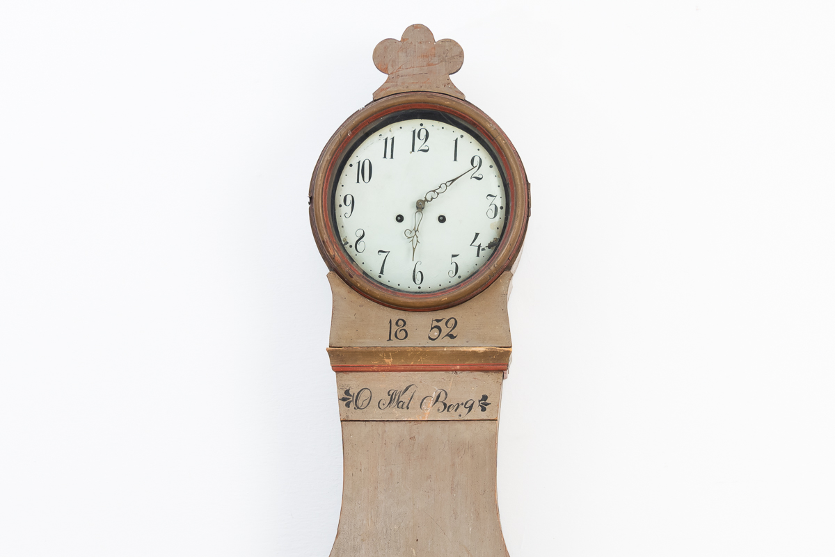 Mora clock with original paint and dating 1852. Monogram.