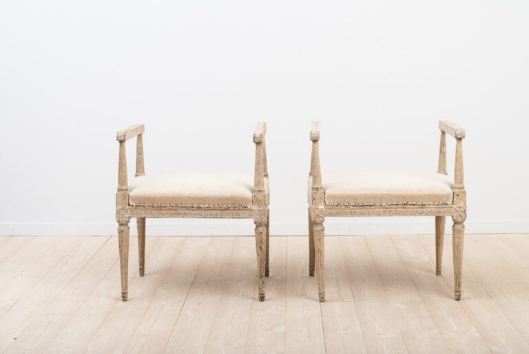 A Pair of Swedish Gustavian Banquettes