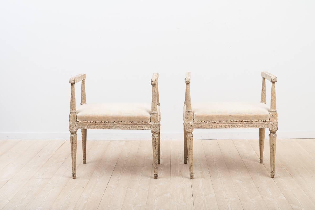 A pair of Swedish gustavian banquettes manufactured around 1780.