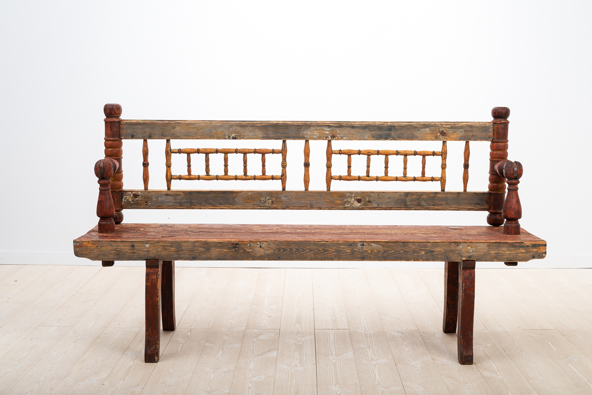 Swedish Folk Art Bench with Turnable Backrest