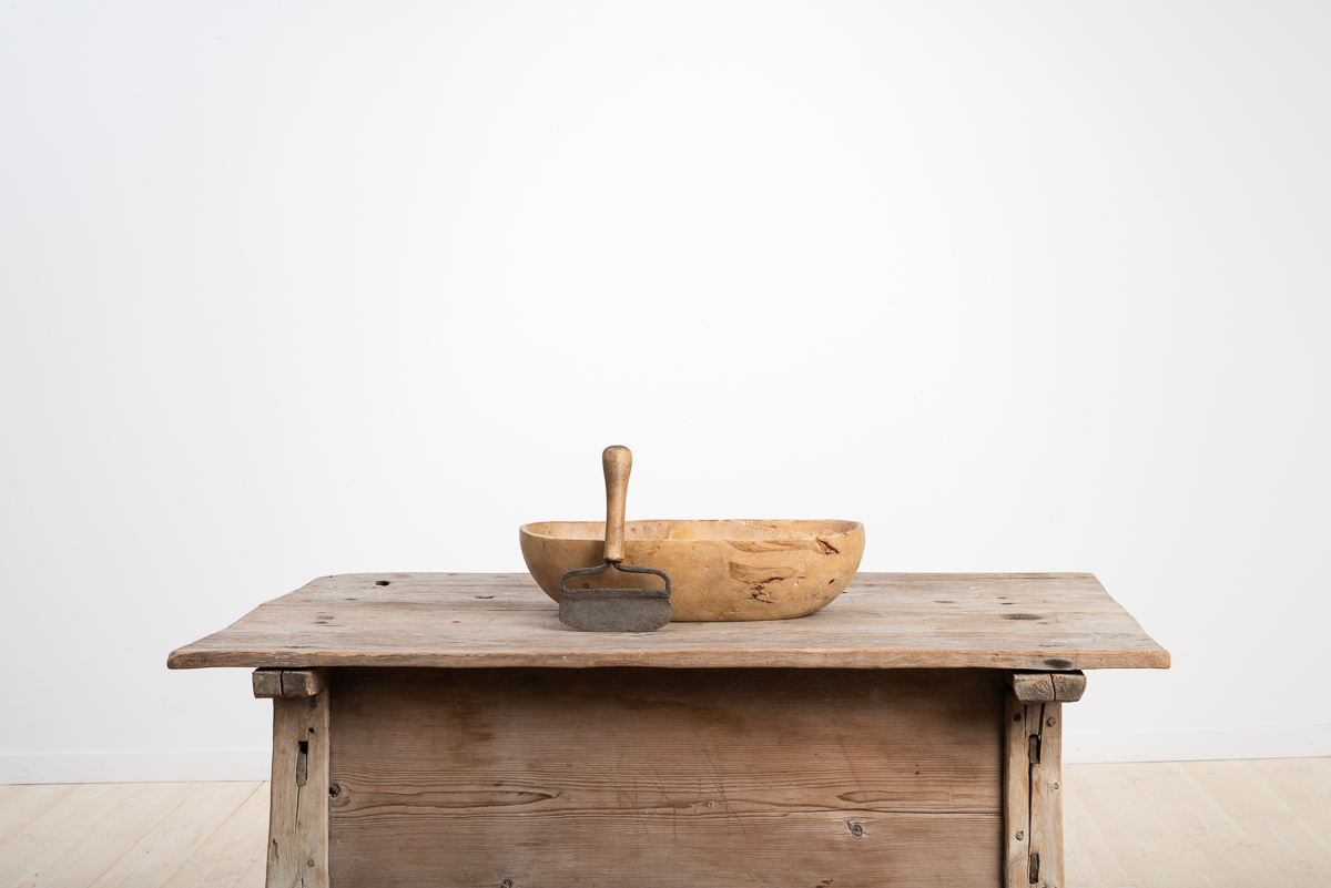 Wooden Bowl with Adjacent Chopping Knife