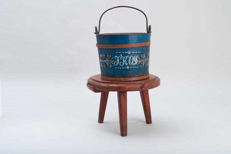 Folk Art Wooden Bucket with Decorative Paint