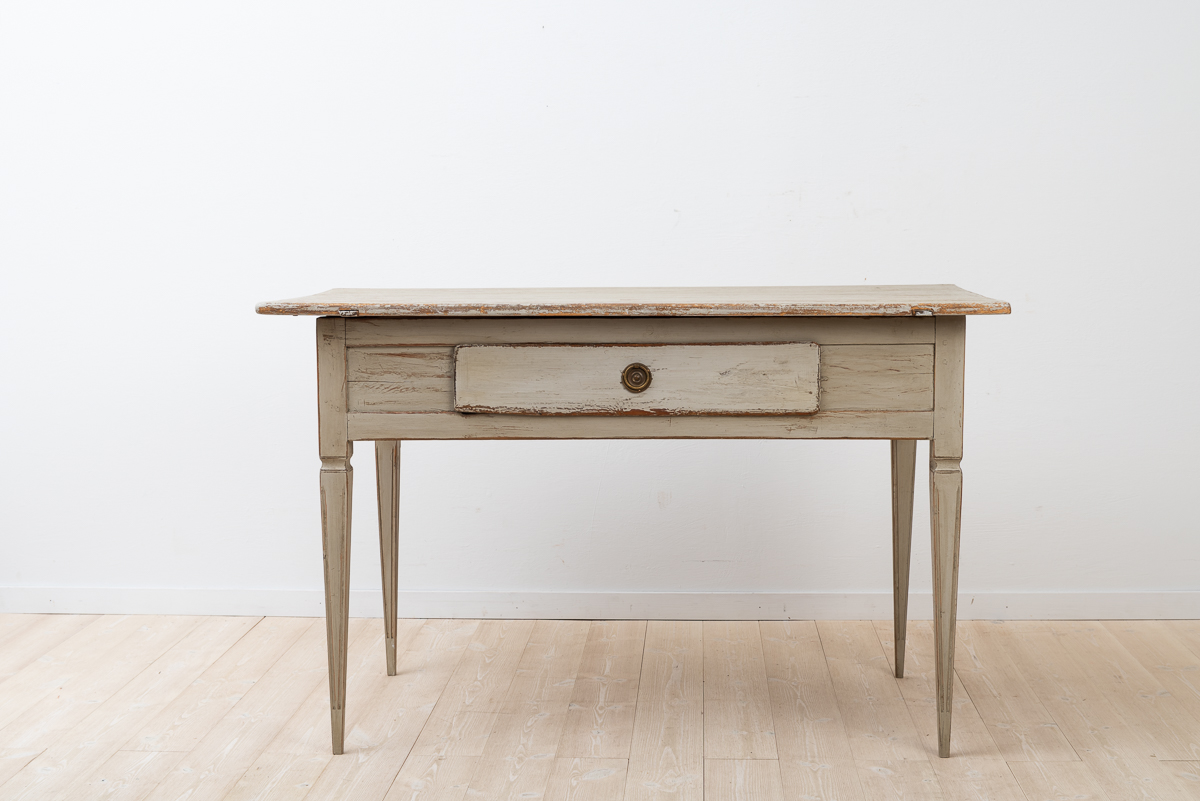 Large writing table in gustavian style with one drawer.