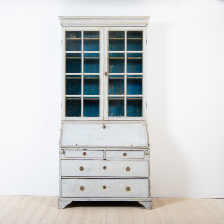 Gustavian Writers Cabinet with Glass Top
