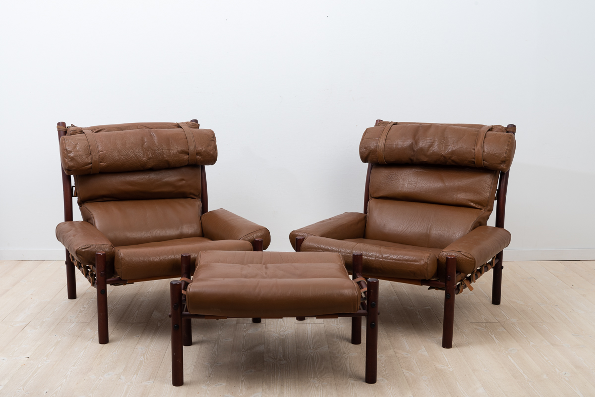 Inca Armchairs with appurtenant Ottoman designed 1971 by Arne Norell. Manufactured by Norell Möbler during the 1970s.