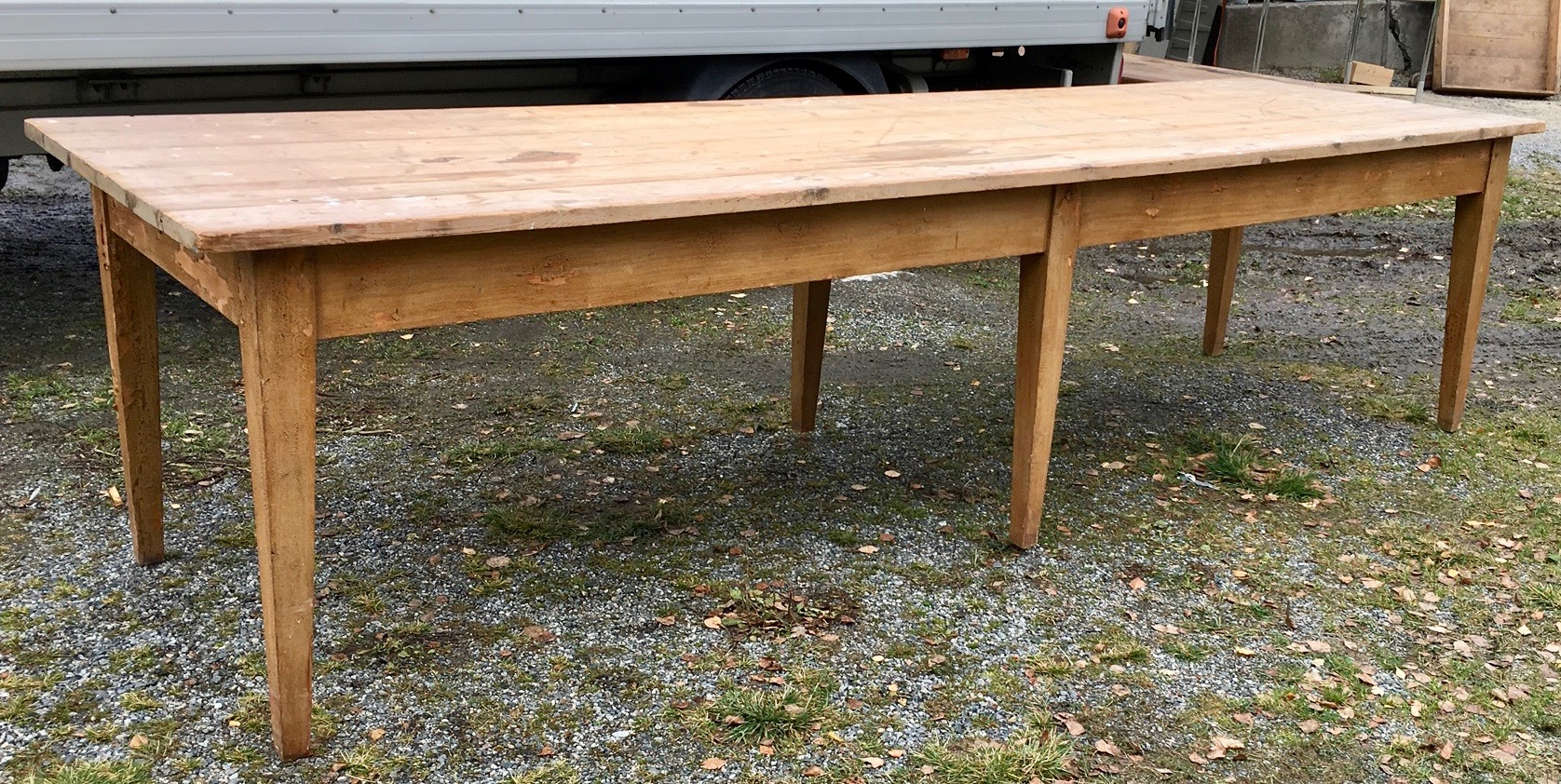 Large dining room / work table. Distressed surface in untouched condition