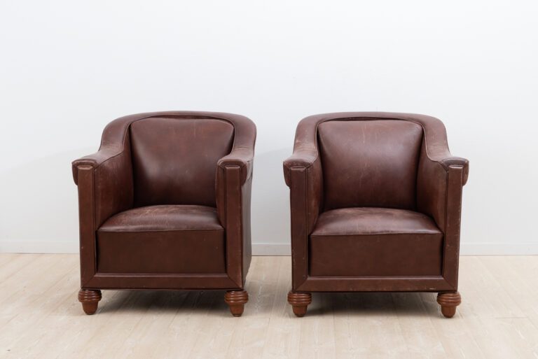 Art DecoLeather Armchairs from Sweden