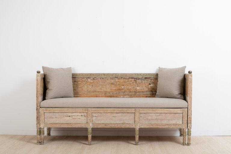 Swedish Gustavian Sofa with Padded Seat