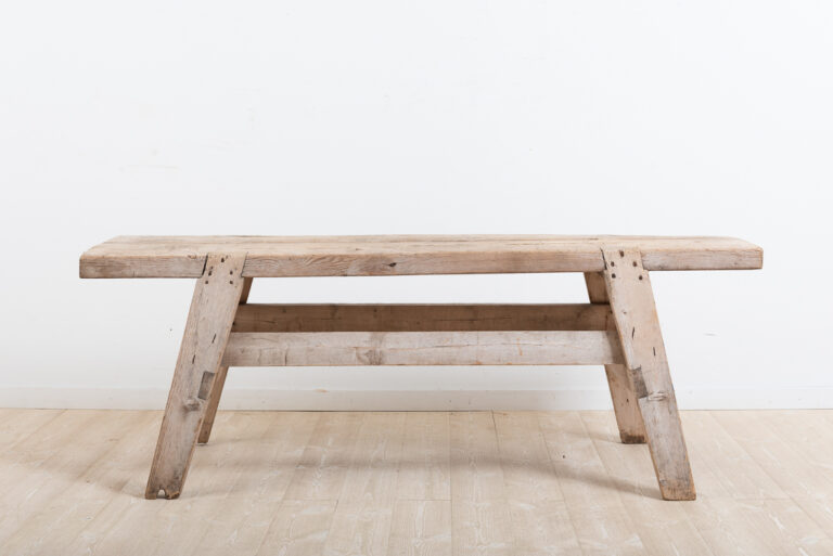 Never Painted Folk Art Bench from Northern Sweden