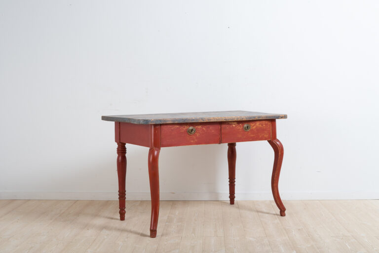 Swedish rococo revival desk / console table. Manufactured in northern Sweden from pine and painted with red paint.Two drawers with original locks