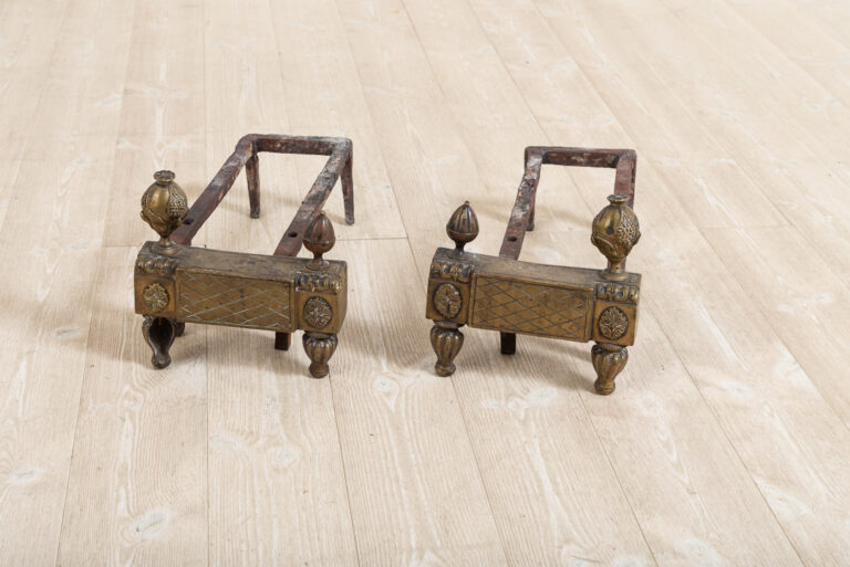 Pair of Two Andirons in Iron with Brass Details