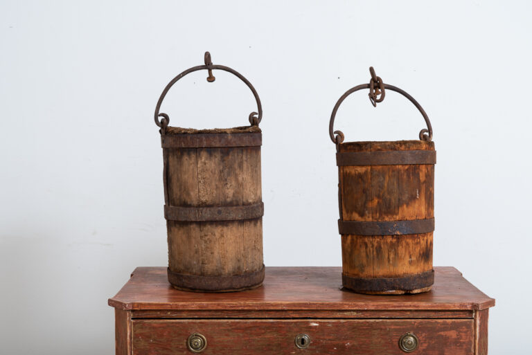 Pair of Wooden Buckets with Iron Accents
