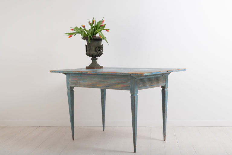 Blue Gustavian Side Table from Northern Sweden