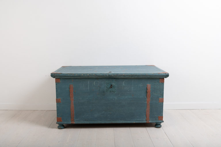 Folk Art Chest with Original Blue Paint