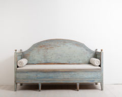 Rare gustavian sofa from northern Sweden. Made around 1790. Dry scarped to the original blue paint. Good patina. Straight model with a curved back