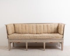 Neoclassic Swedish sofa from around 1770. Scarped to original paint. Decorated with a carved wooden decor typical to neoclassicism. Healthy and solid frame