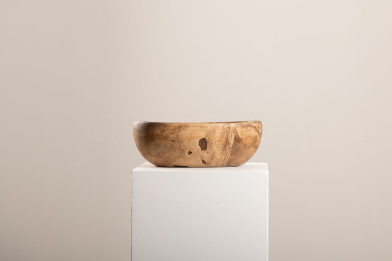 Wooden Bowl with an Organic Oblong Shape