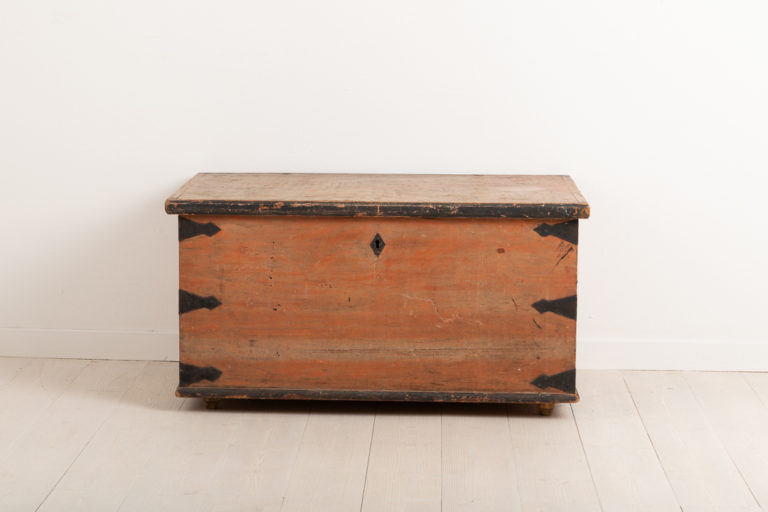 Folk Art Chest with Wrought Iron Details