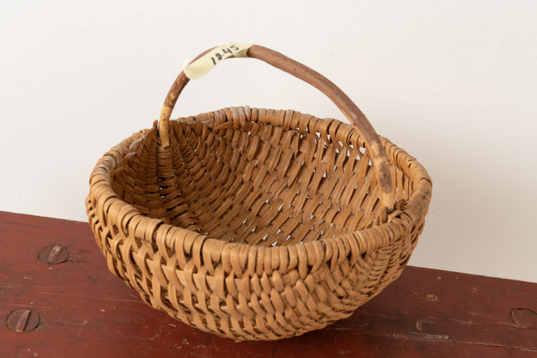 Woven Folk Art Basket in Light Wood