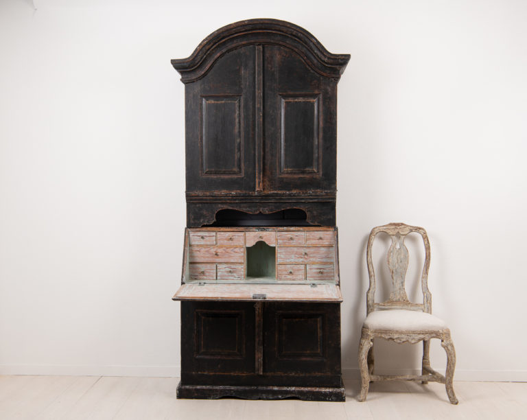 Rococo Bureau Cabinet in Folk Art from Sweden