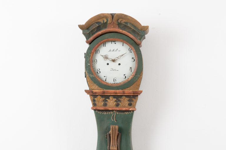 Rococo Long Case Clock in Folk Art from northern Sweden