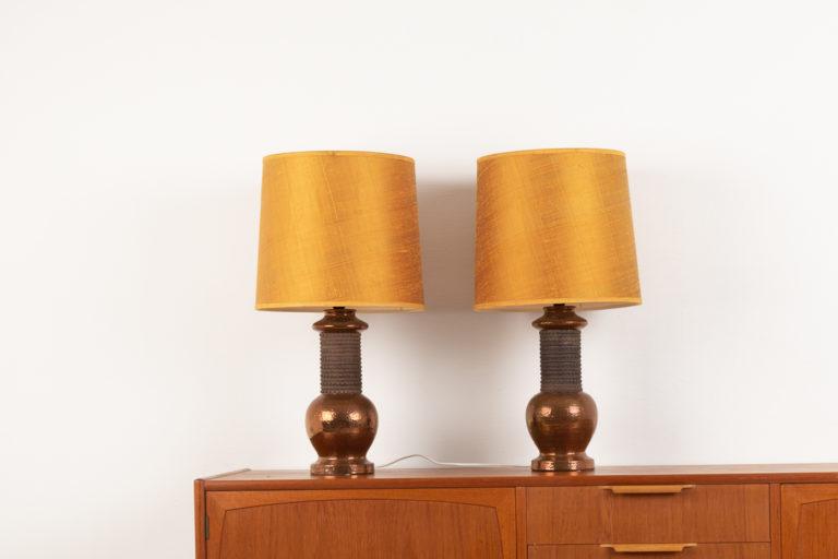 Retro Bitossi Copper Lamps from Italy