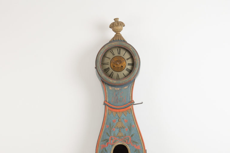 Long Case Clock with Original Blue Paint