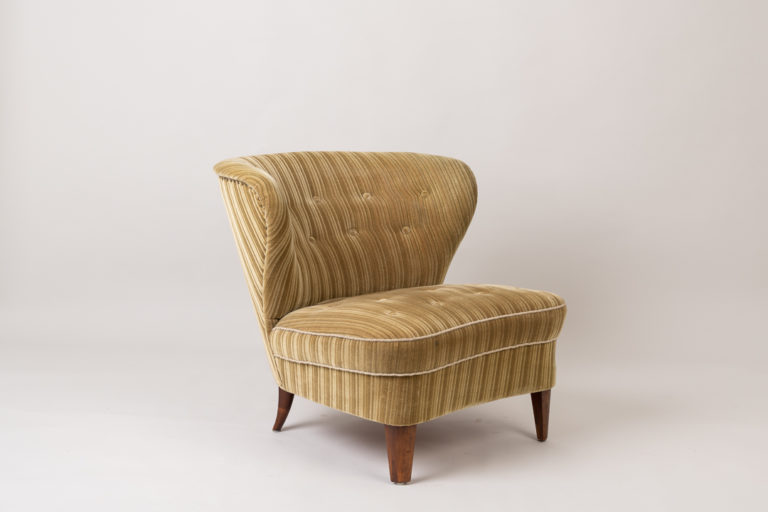 Gösta Jonsson easy chair from the mid 1900s. The chair is Scandinavian modern with the original striped velour upholstery. Made during the 1940s to 1950s in Sweden