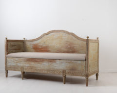 Gustavian bench from the 18th century. The bench or sofa is Swedish gustavian which corresponds to the more international neoclassical period