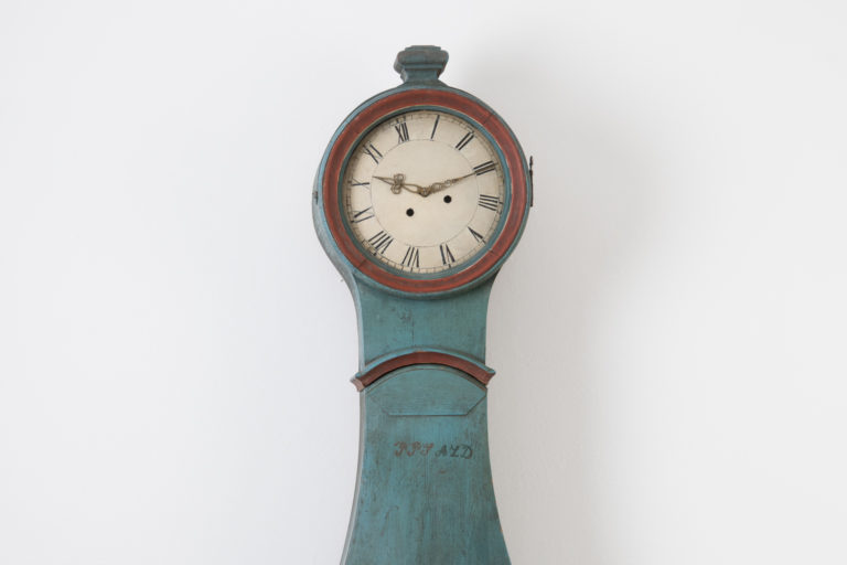 Long Case Clock with Blue Paint from the 19th Century