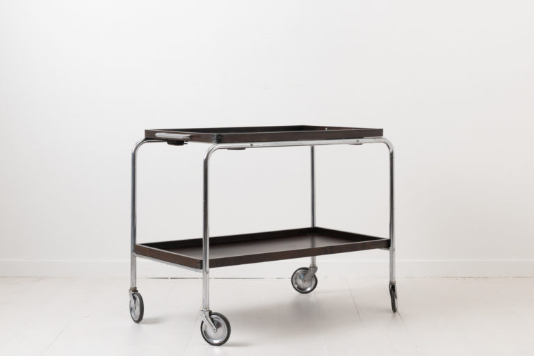 Art Deco Bar Cart with Metal Frame and Wood Trays