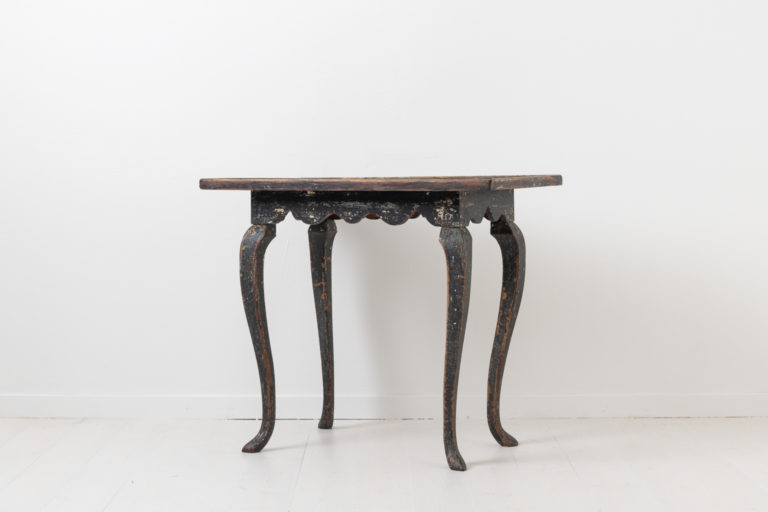 Black Rococo Table in Painted Pine from Sweden