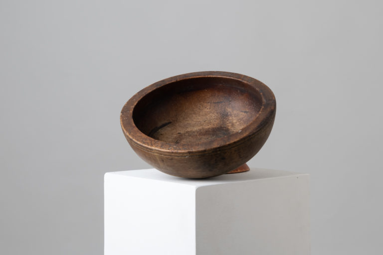 Antique Turned Wooden Bowl with an Unusual Rim