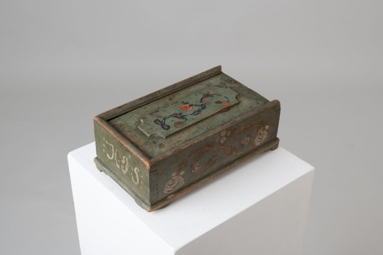 Antique Box with Siding Lid in Folk Art