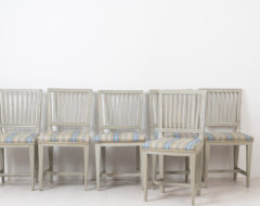 Set of 6 chairs in gustavian style. The chairs are very simliar with backrests with 8 ribs each, all decorated with flutes. 4 chairs have carved flowers
