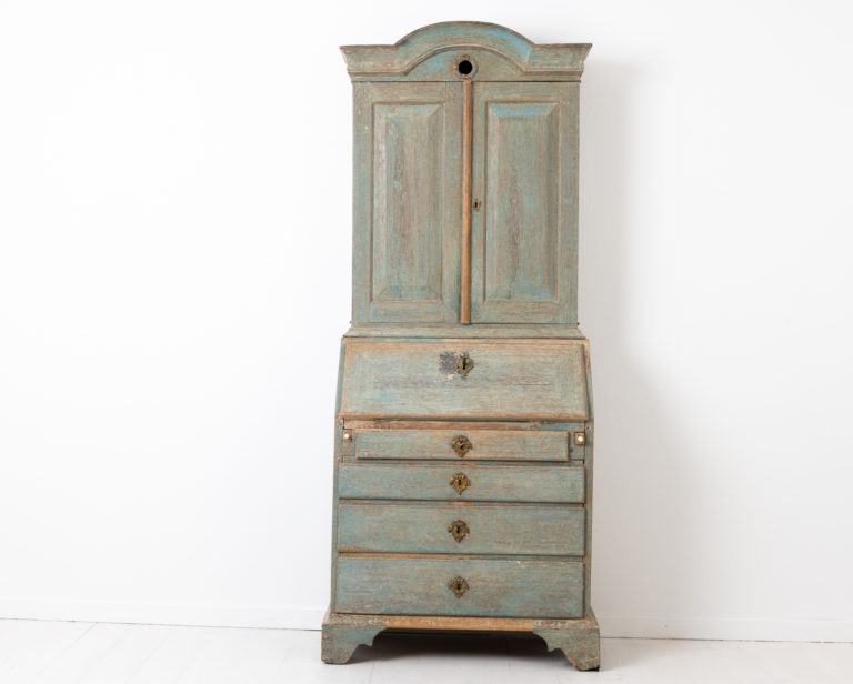 Blue Rococo Cabinet with Desk Top from Sweden