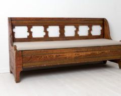 Gustavian country bench from northern Sweden made during the late 1700s. The bench is unusual and from the very north of Sweden