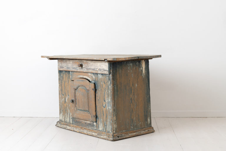 18th Century Chest Table with Blue Paint