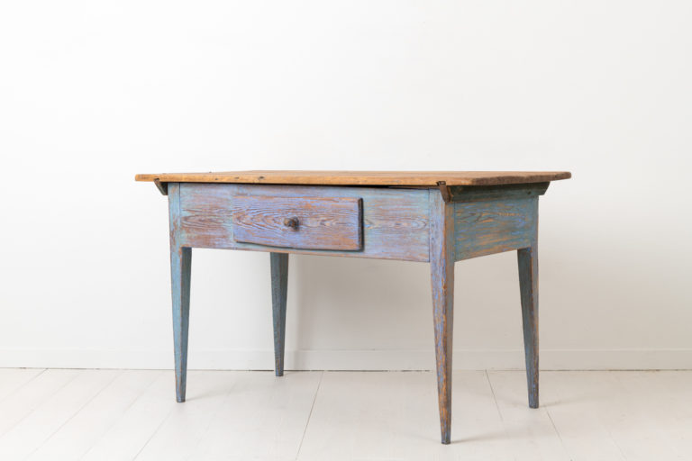 Swedish Country Table with Distressed Blue Paint
