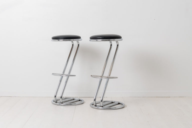 Scandinavian Modern High Stools in Chrome