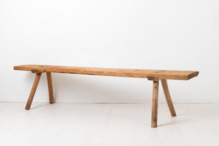 Wide Folk Art Bench in Solid Swedish Pine