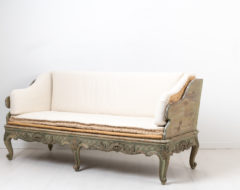 Swedish rococo sofa from 1770. The so called Trågsoffa has hand scraped to original paint from 1770 with natural distress and authentic patina